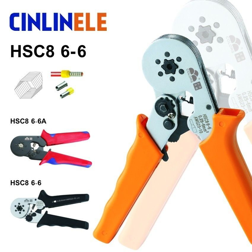 Free Shipping HSC8 6-6 0.25-6mm 23-10AWG Self Adjustable Hexagon Tube Terminal Crimping Pliers Crimp Hand Tools Ferramentas