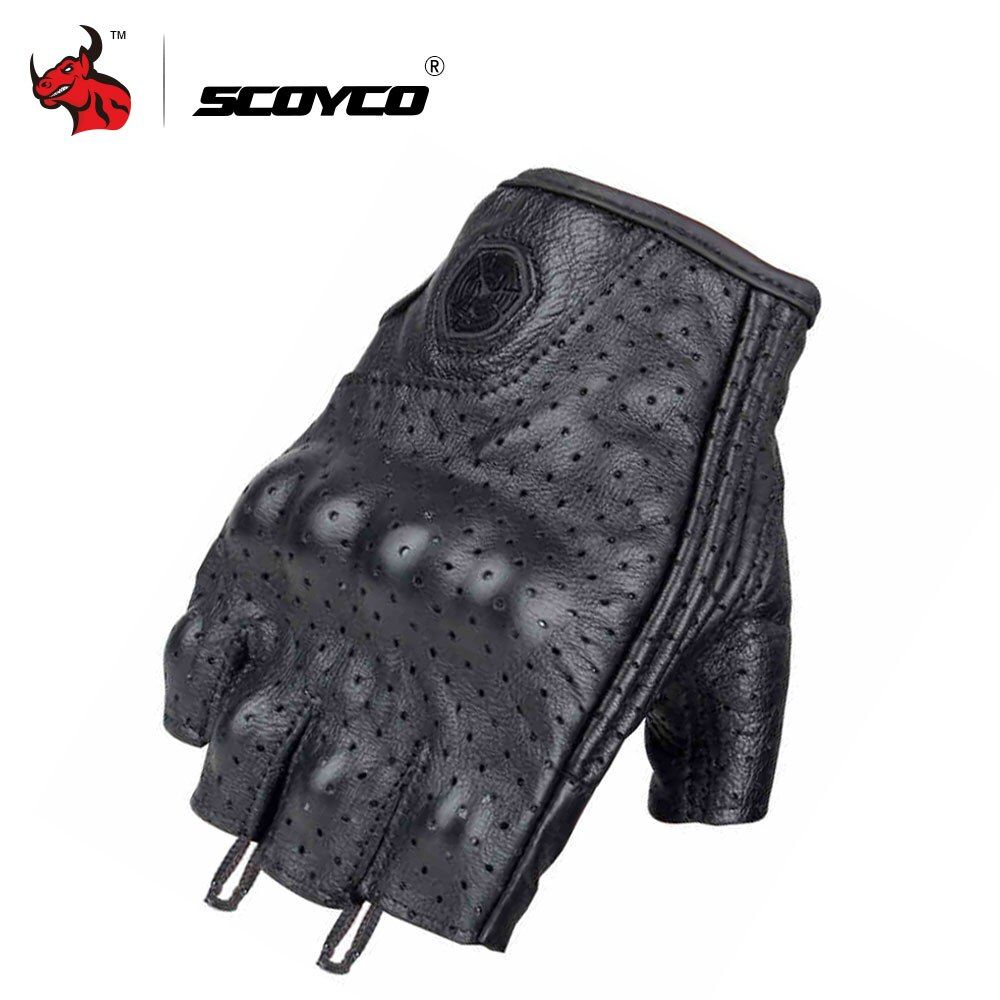 SCOYCO Leather Motorcycle Gloves Motocross Off-Road Racing Gloves Motorcycle Riding Half Finger Gloves Luva Couro Motoqueiro