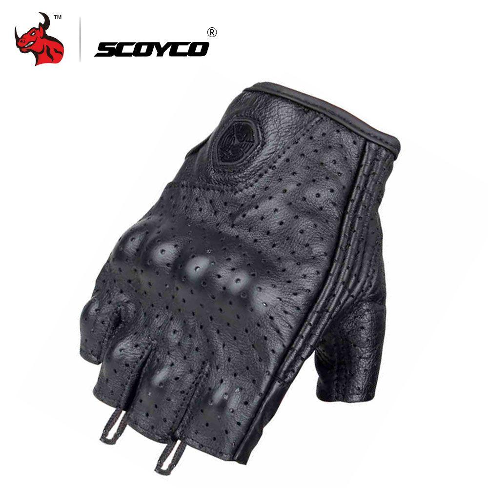 SCOYCO Leder Motorrad Motocross Handschuhe Off-Road Racing Handschuhe Motorrad Reiten Halbfinger Handschuhe Luva Couro Motoqueiro