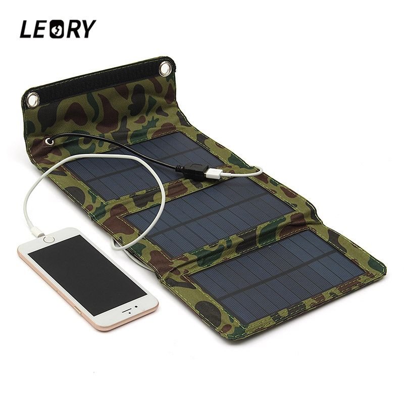 LEORY 5W 5.5V USB Output Portable Solar Panel Charger Folding Camping Solar Power Bank For Cellphone MP4 <font><b>Camera</b></font> Battery Charger