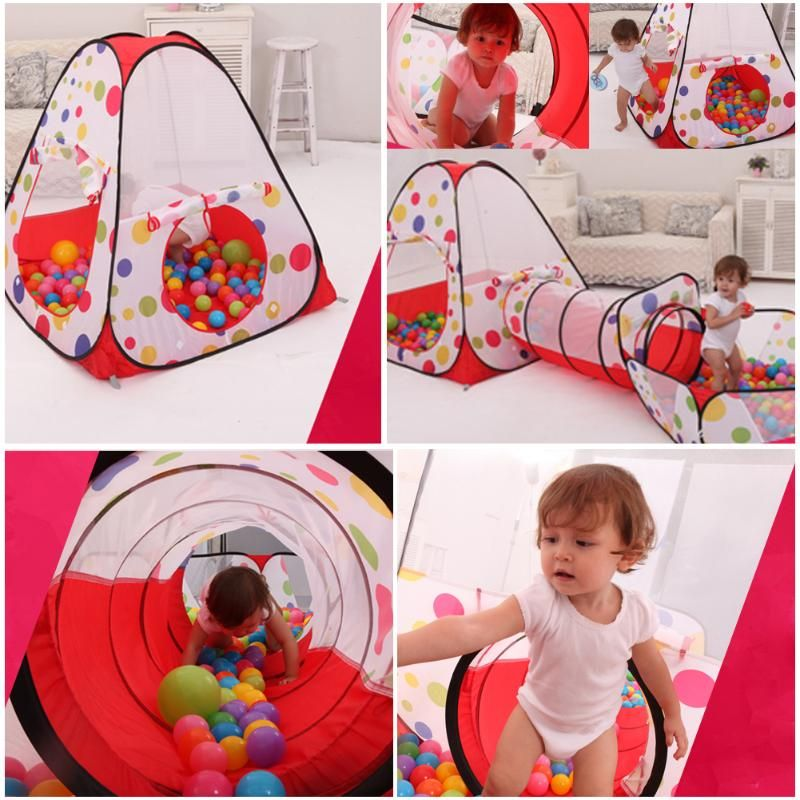 Combo Pool-Tube-Teepee 3pc Pop-up Play Tent Child Playing Tunnel House Play Tent Lodge Kids Play Gaming Toy for Children Play