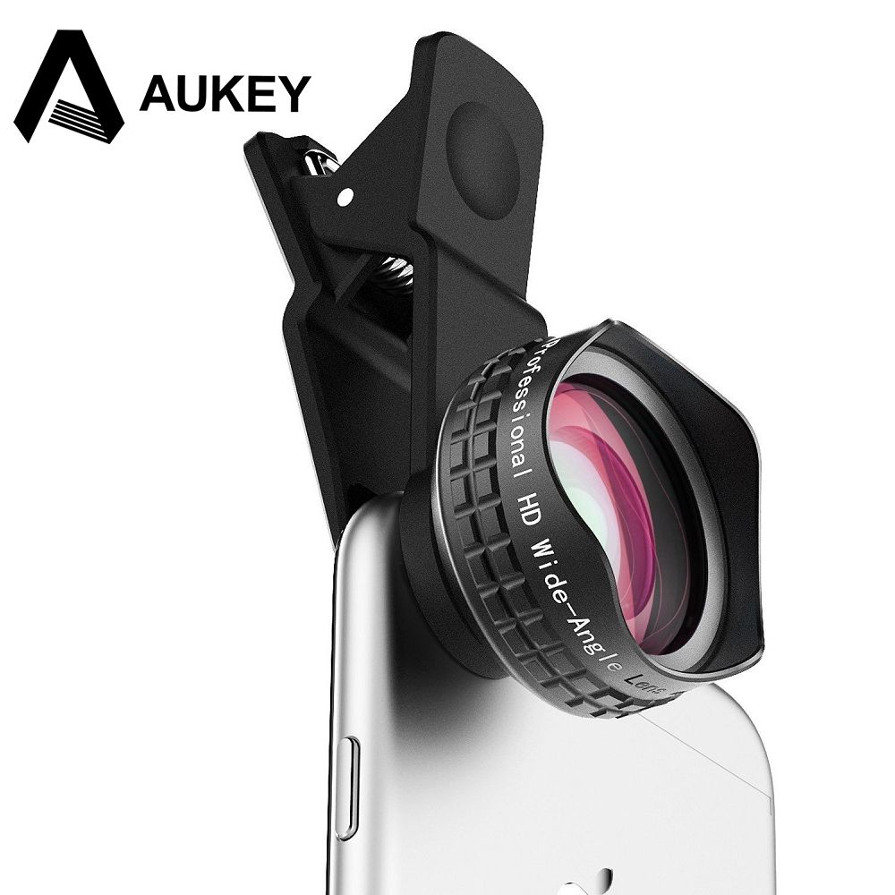 AUKEY Óptica Profesional Lente de 110 grados HD Gran Angular Teléfono Lente de la cámara Kit de Clip para el iphone Samsung Lg Xiaomi y más