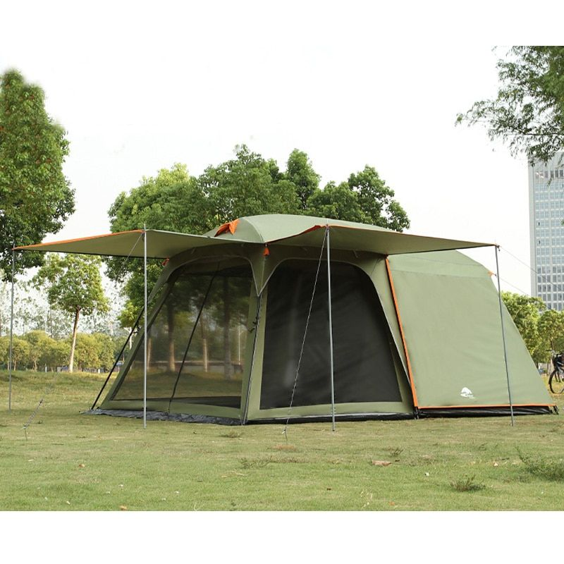 One hall one bedroom 5-8 person use double layer high quality waterproof windproof camping family tent