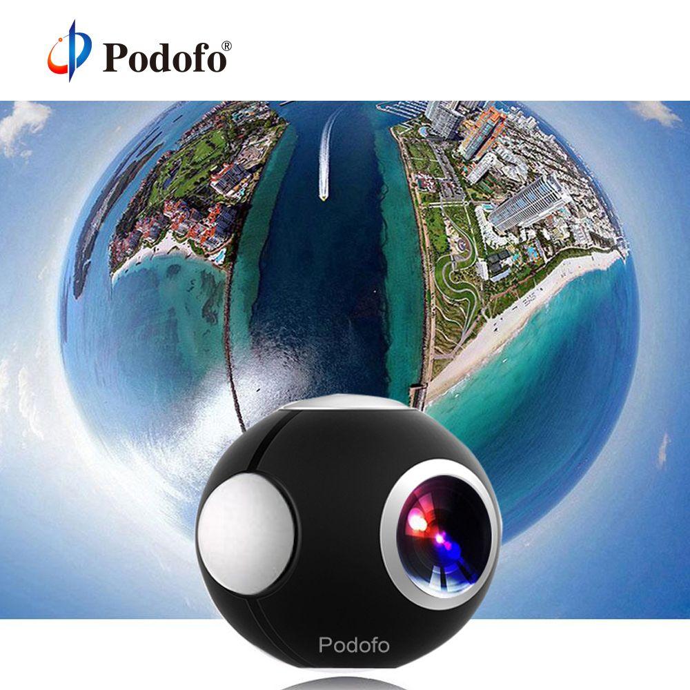 Podofo 360 caméra panoramique mini caméra 360 HD Double Lentille oeil de poisson VR Vidéo caméra pour android Sport caméra d'action TypeC