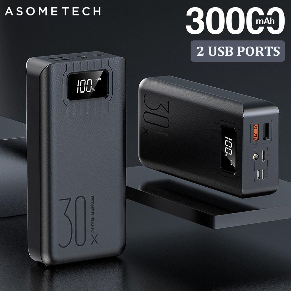 2USB batterie externe à LED 30000mAh chargeur Portable Powerbank pour iPhone Xiaomi Samsung Huawei pauvreté Pack Charge batterie externe
