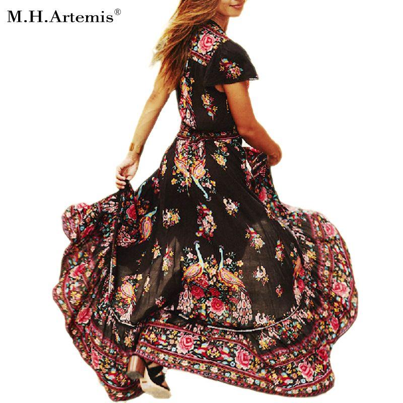 M.H.Artemis Women Boho Ethnic Folk Print Elastic Waist Women Retro Vintage Vestidos Bohemian Hippie Dress Robe Vestidos <font><b>Mujer</b></font>