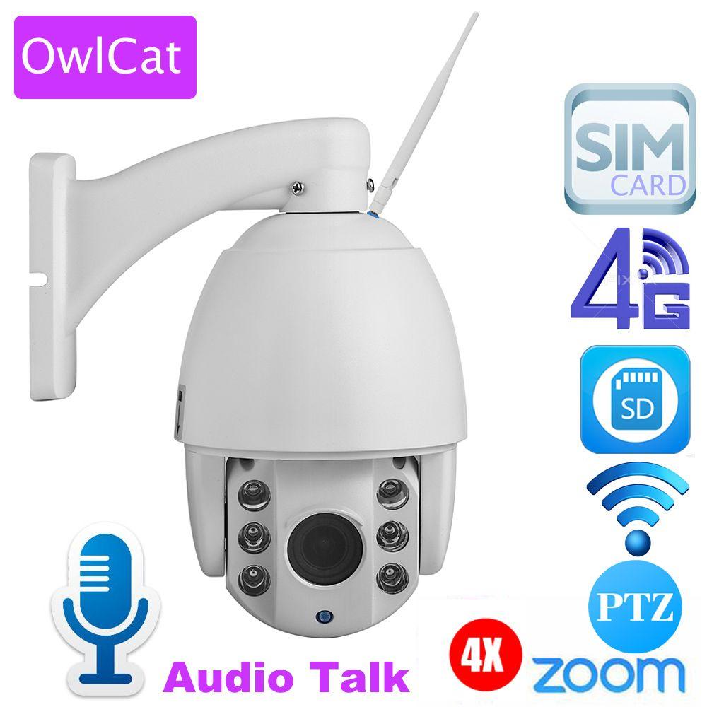 OwlCat Außen 3G 4G SIM Karte Dome Ip-kamera PTZ HD 1080 P 5X Zoom Audio Sound Zwei Way Talk Back Sd-karte Nacht IR CCTV Camara