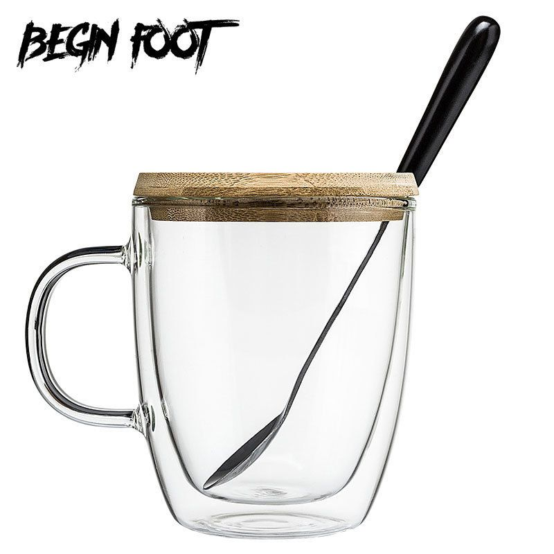 Bodum French Press Maker Double Layer Heat-resistant Glass Coffee Tea Milk Cup Belt Handle With Spoon Lid Glasses Vaso Copo Gift