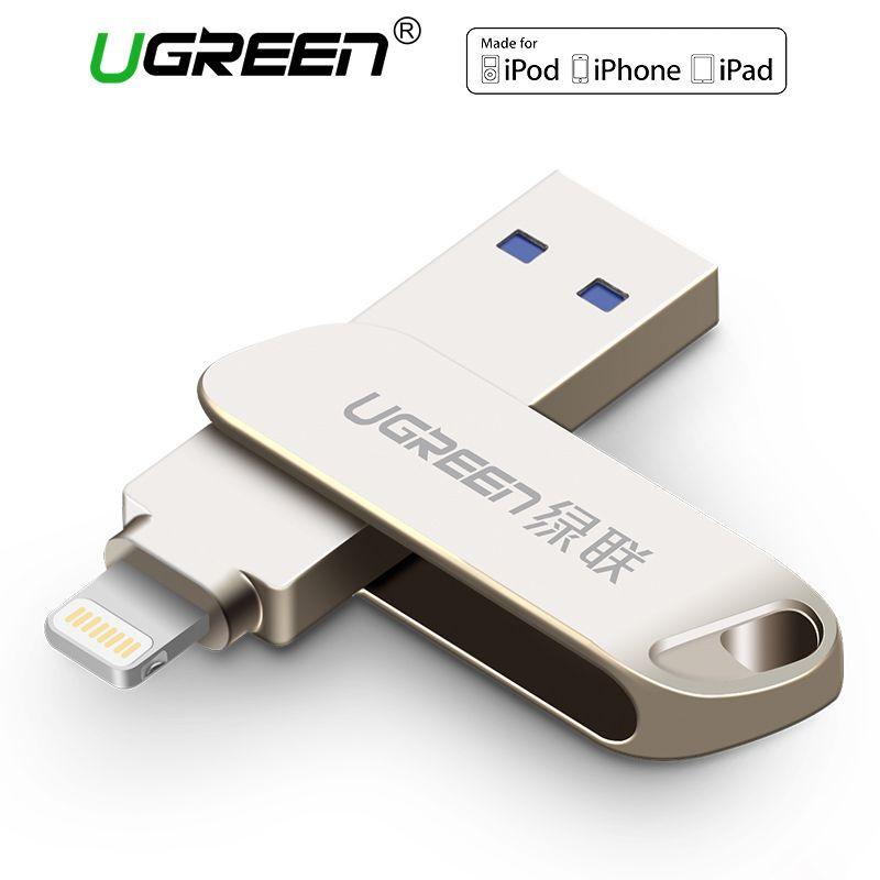 Ugreen USB 3.0 Flash Drive for iPhone 8 7 Plus 32GB 64GB Lightning to Metal Pen Drive U Disk for MFi iOS10 memory stick 128GB