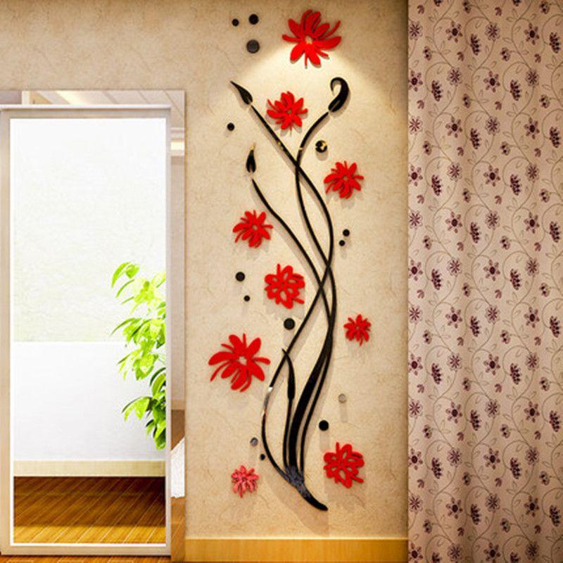 Orchidée Cristal Acrylique 3D Stéréo autocollant mural Entrée Couloir Salon Chambre Chambre Fond décorations murales