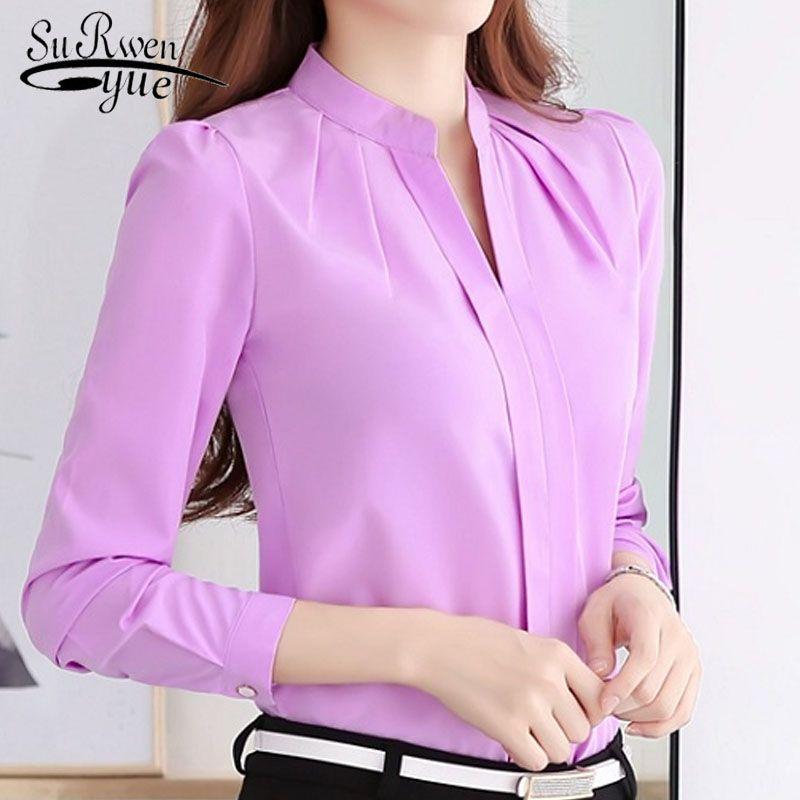 Chemisiers en mousseline de soie 2017 nouvelles femmes chemise décontracté à manches longues en mousseline de soie chemise élégante mince couleur unie grande taille blusas 861B 25