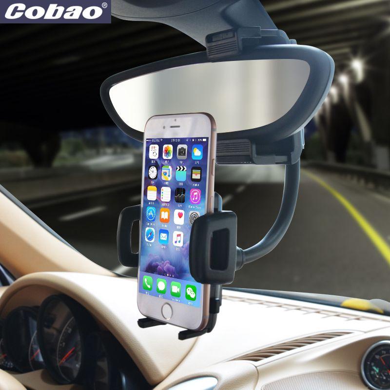 Rétroviseur universel voiture support pour téléphone Cobao marque support de smartphone support pour Iphone 5 s 6 6 s plus Galaxy s4 s5 s6 s7 xiaomi