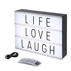 A4 Led Night Light Box with DIY Black Letters Table Lamp Acrylic Cinematic Light Box AA Battery or Usb Art Desk Lights Gifts