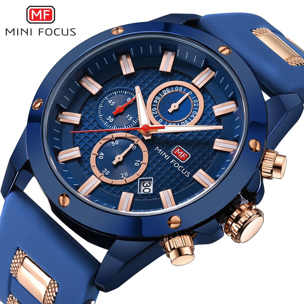 MINI FOCUS Chronograph Watch Men Sport Quartz Clock Mens Watches Top Brand Luxury Silicone Strap Casual Military Watch Male Blue