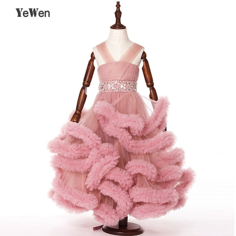 Cloud little flower girls dresses for weddings Baby Party frocks sexy children images Dress kids prom dresses evening gowns 2018
