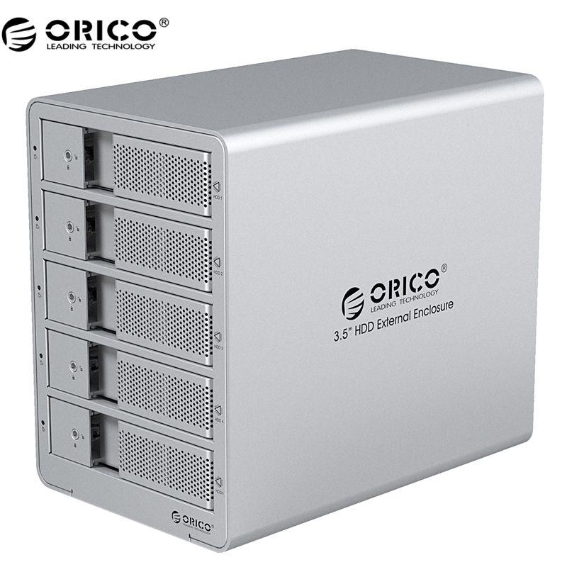 ORICO 9558U3-SV Outil Livraison En Aluminium USB 3.0 5 bay 3.5-pouces SATA Hard Drive Enclosure Soutien 5x6 TB Lecteur Bateau Libre-argent