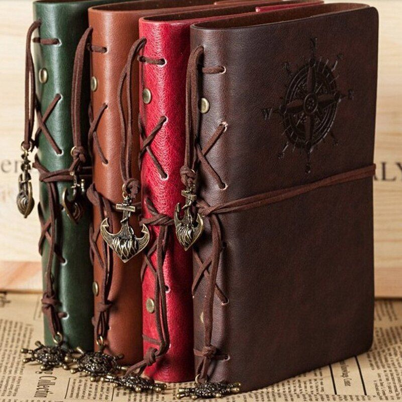 2019 Spiral Notebook Diary Notepad Vintage Pirate Anchors PU Leather Note Book Replaceable Stationery Gift Traveler Journal