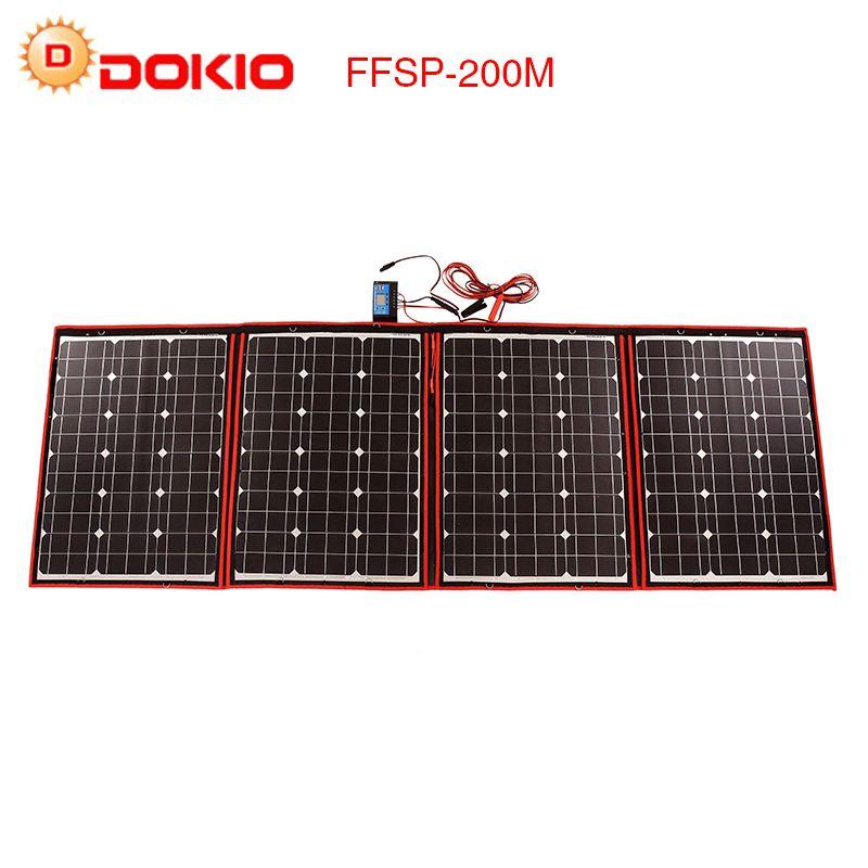 Dokio Solar Panels travel 200W 18V Foldable Panels Solar battery charge motorhome solar kit for home panneau solaire portable