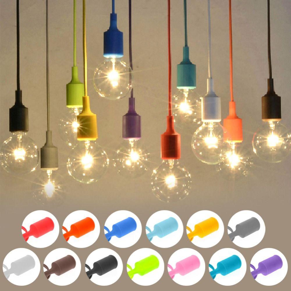 Bunte E27 75mm Silikon Gummi Decke Seil Schnur Anhänger Lampenfassung Lampenfassung #257815