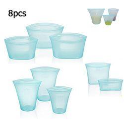8 unids/lote bolsas de comida de silicona bolsa fresca herramienta de cocina reutilizable almacenamiento de fruta sellada hogar sellado soporte cerrado contenedor J13