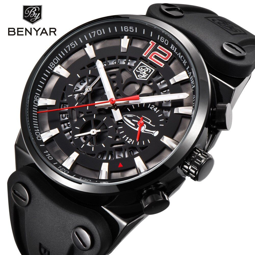 <font><b>BENYAR</b></font> Brand Chronograph Sports Men Watches Fashion Military Waterproof Leather Quartz Watch Relogio Masculino Zegarek Meski