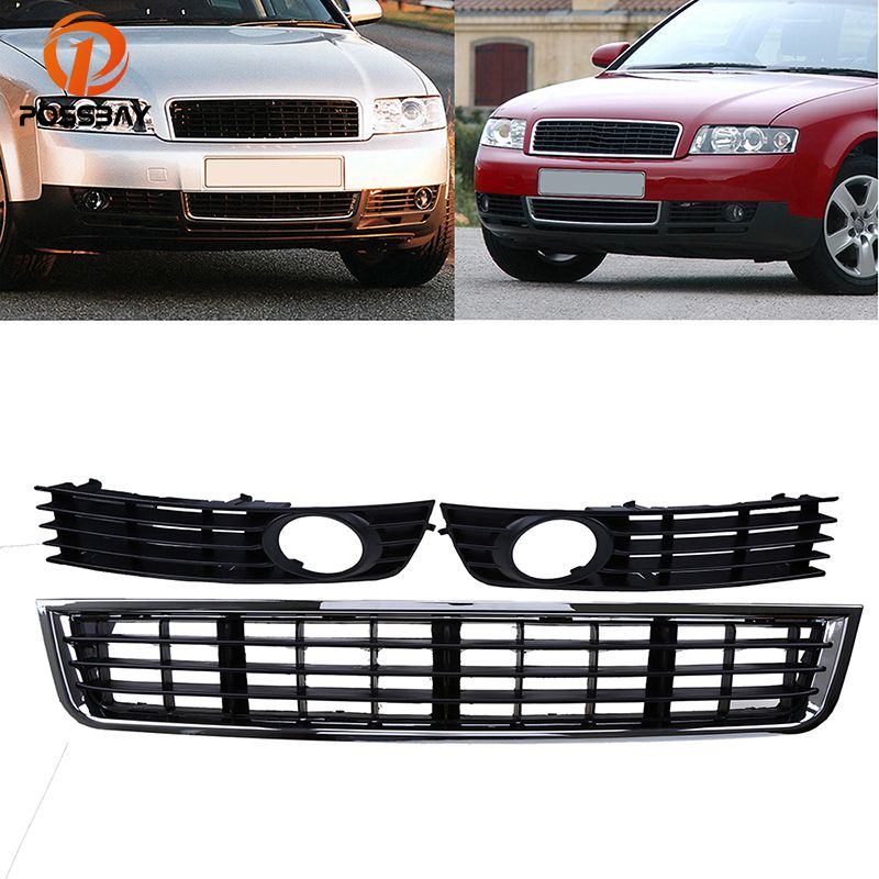 POSSBAY 3 Pcs Auto Front Bumper Lower Grille Fog Light Grill Cover for Audi A4 B6 Sedan 2001 2002 2003 2004 2005 Car Styling
