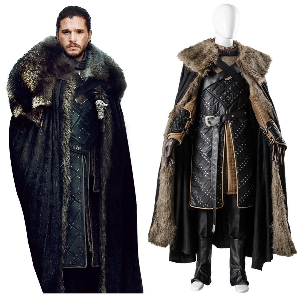 GoT 7 Game of Thrones Season 7 Cosplay Jon Snow Costume Outfit Cosplay Costume Adult Men Halloween Party Full Sets