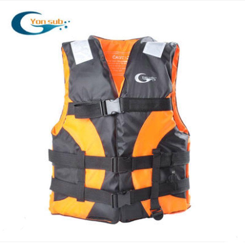 YonSub Adult Lifejacket Drifting Life Vest Buoyancy Clothing Professional Snorkeling Suit Vest Whistle/Orange