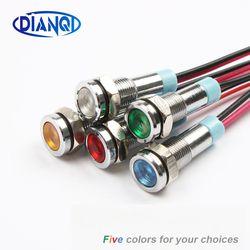 6 мм светодиодный металлическая сигнальная лампочка 6 мм Водонепроницаемая сигнальная лампа 6 в 12 В 24 В 220 В с проводом красный желтый синий з...