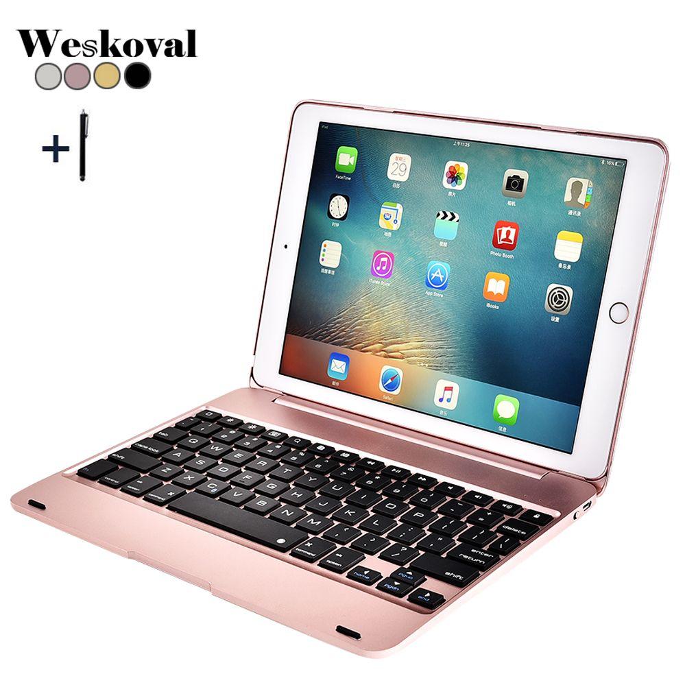 For iPad 9.7'' 2018 A1893 Wireless Bluetooth Keyboard Case For iPad 9.7 2017 A1822 Tablet Alloy Keyboard Cover For iPad Air 1 2