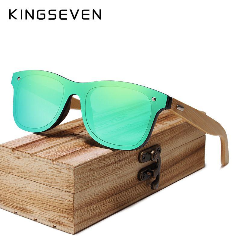KINGSEVEN 2019 bambou lunettes de soleil polarisées hommes lunettes de soleil en bois femmes marque Original lunettes en bois Oculos de sol masculino