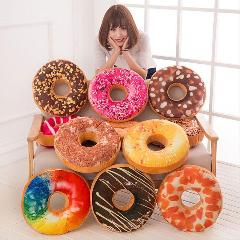 Coloré et Doux En Peluche Donut Canapé Siège Chaise Coussin Décor Oreiller Chocolats doux Tapis De Voiture Bureau Sieste Outil Pour Adultes et Enfants