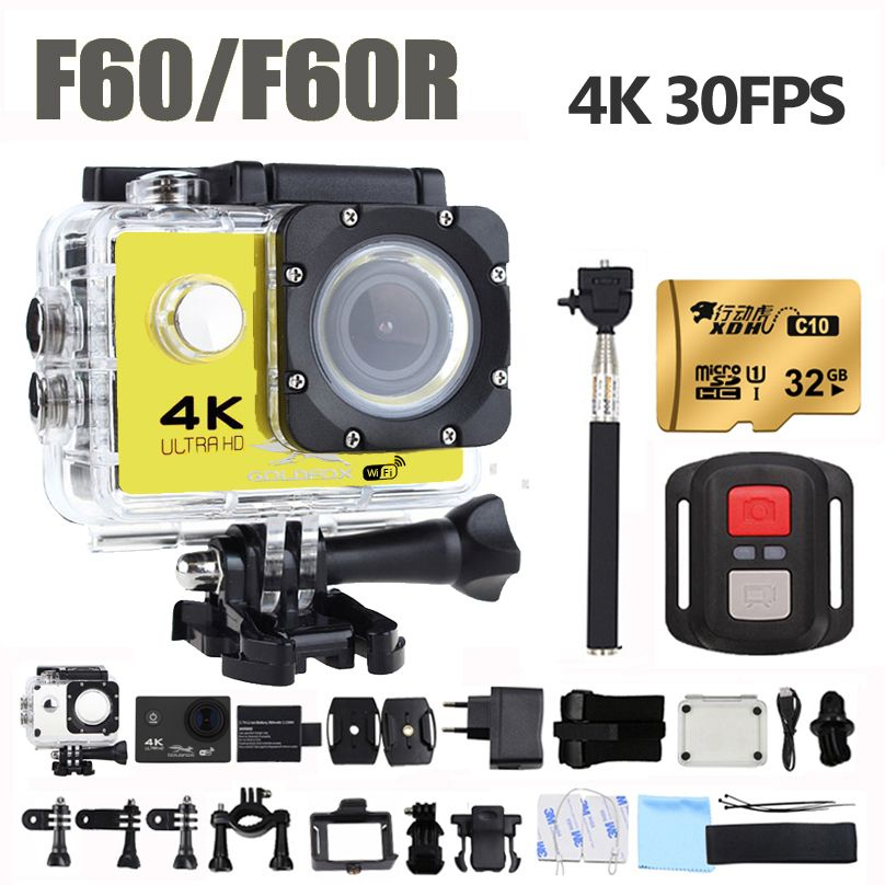 F60/F60R Action Camera Ultra HD 4K/30fps 16MP 170D Wide Angel Sport DV Go Waterproof Pro Extreme Sports Video Bike Helmet Camera