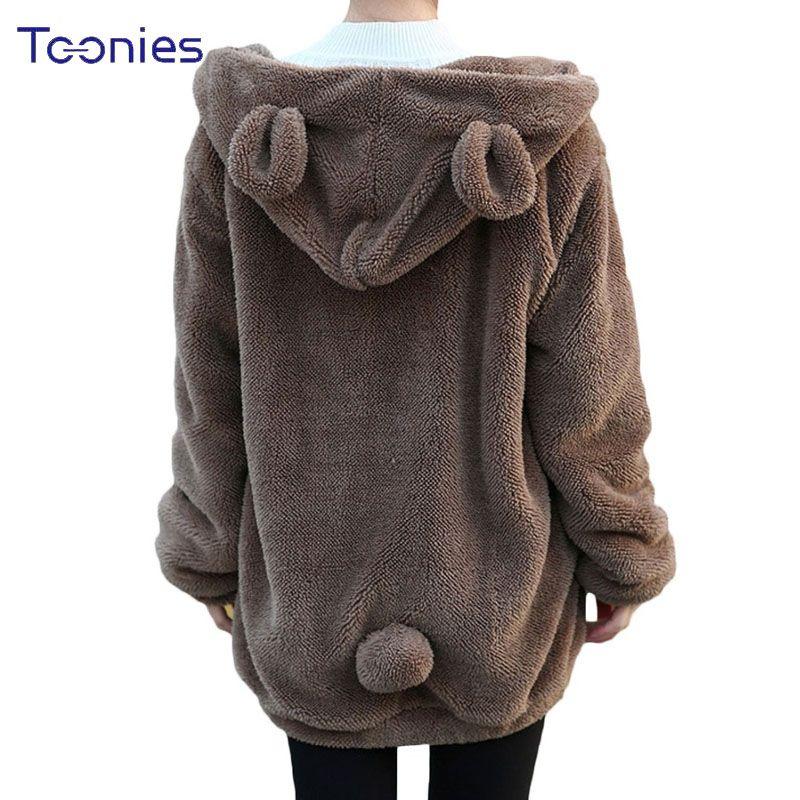 Hot Sale Women Hoodies Zipper <font><b>Girl</b></font> Winter Loose Fluffy Bear Ear Hoodie Hooded Jacket Warm Outerwear Coat Cute Sweatshirt Hoody