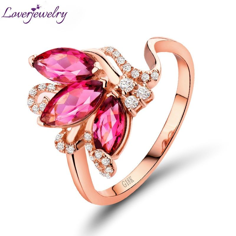New Marquise Shape Pink Tourmaline Ring,Natural Diamond Solid 18K Rose Gold Engagement Ring For Sale SR00133