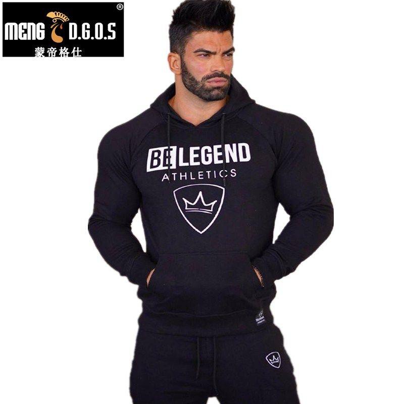 Mens fashion brand hoodies gyms Fitness bodybuilding Sweatshirt Crossfit pullover sportswear male Leisure jacket clothing