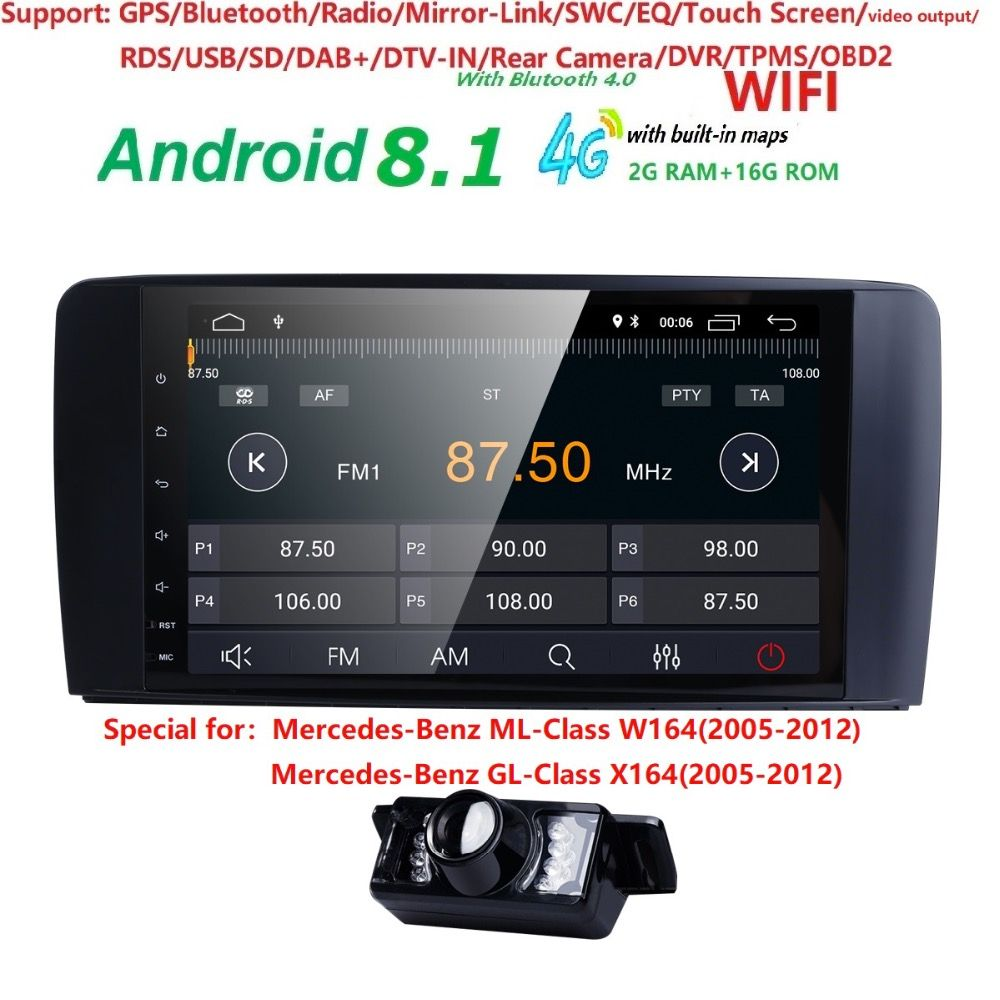 9 2 din Auto Radio GPS Android 8.1 NO-DVD Player für Mercedes Benz ML W164 ML300 GL X164 GL320 350 420 450 500 R W251 280 DVR BT