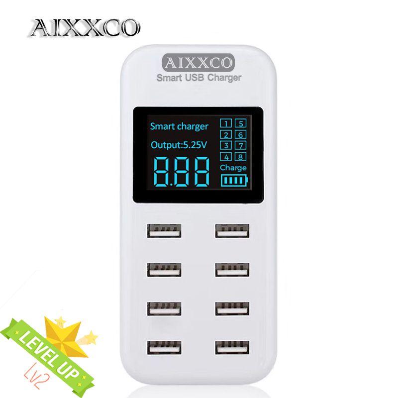 AIXXCO Smart 8A USB chargeur avec Écran LCD avec 8 usb ports d'alimentation pour iphone samsung Mobile téléphone