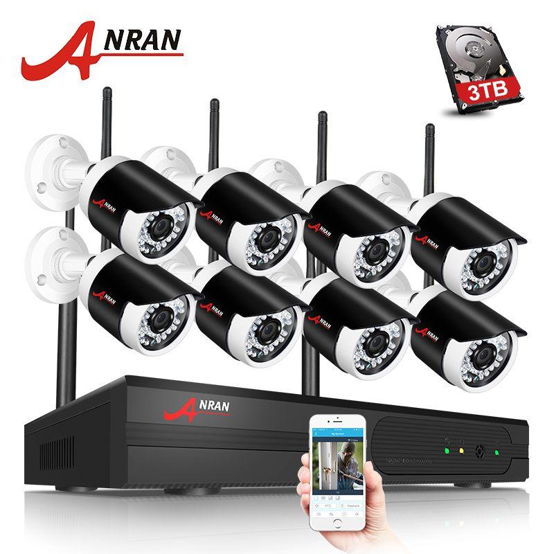 ANRAN H.265 8CH NVR Wifi Security Camera System Wireless CCTV Camera System 2MP HD Bullet IP Camera Video Surveillance System