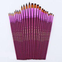 12 В/24 шт художественные разных Размеры качественные нейлоновые кисти для рисования набор акварель акрил кисти для живописи маслом рисунок ...