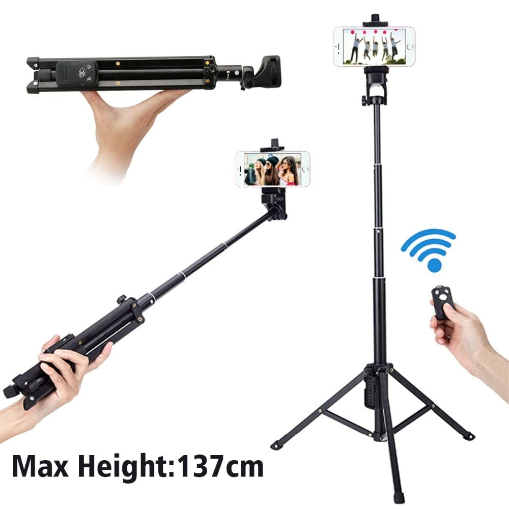 Ulanzi 54 inch 3 in 1 Yunteng Selfie Stick Tripod Stand Super Lightweight Mini Bluetooth Remote Monopod For <font><b>Iphone7</b></font> 6 Samsung