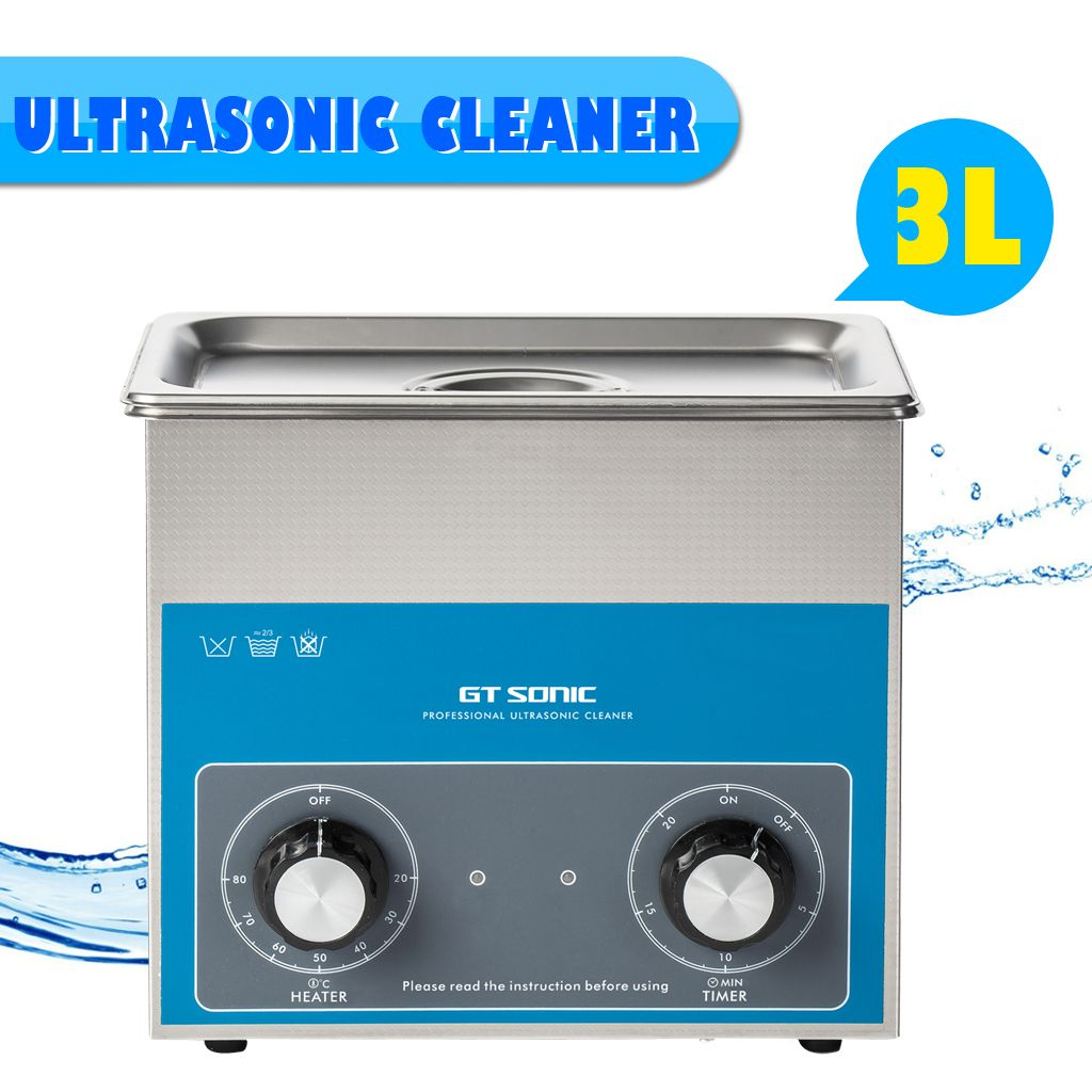 GTSONIC Ultrasonic Cleaner 3L 100W Ultrasonic Cleaning Machine Stainless Steel Home Cleaning Cleaner With 4 Time Settings