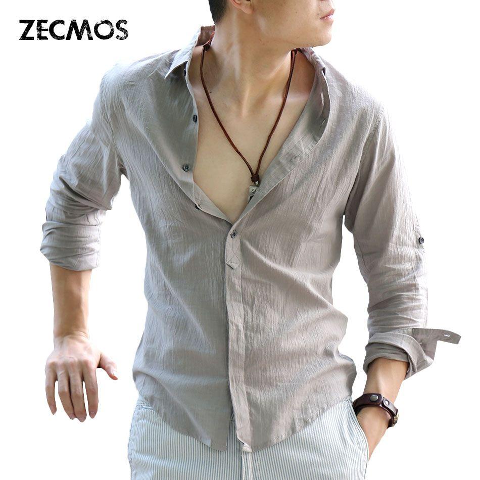 Zecmos Cotton Linen Shirts Man Summer White Shirt Social Gentleman Shirts Men <font><b>Ultra</b></font> Thin Casual Shirt British Fashion Clothes