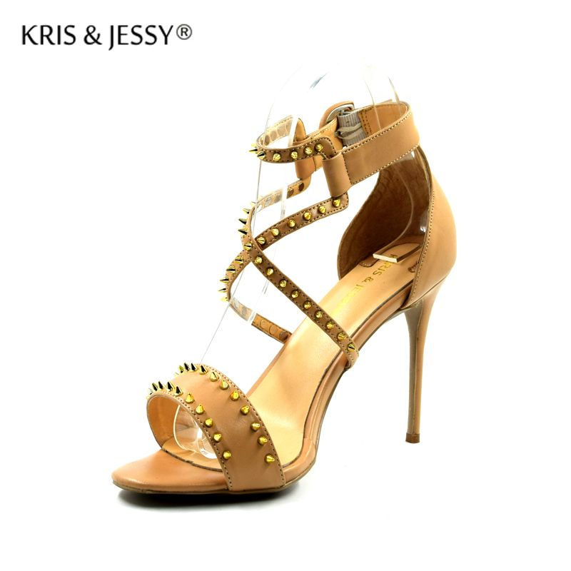 Plus Size 34-45 Studs X Cross Straps Women Sandals Sheepskin Insoles 8cm 10cm 12cm Covered High Heels Woman Sexy Dress shoes