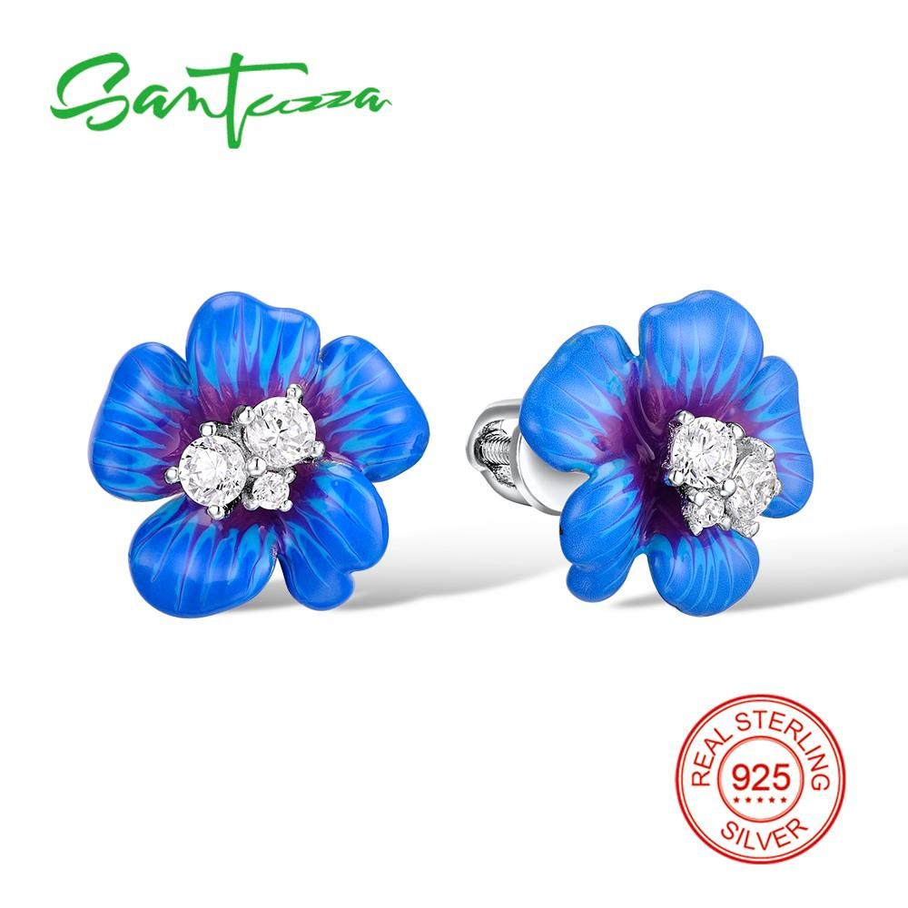 Santuzza Серебряные серьги для Для женщин 925 серебро Стад цветок Серьги с Камни Цирконий Brincos ювелирной эмалью