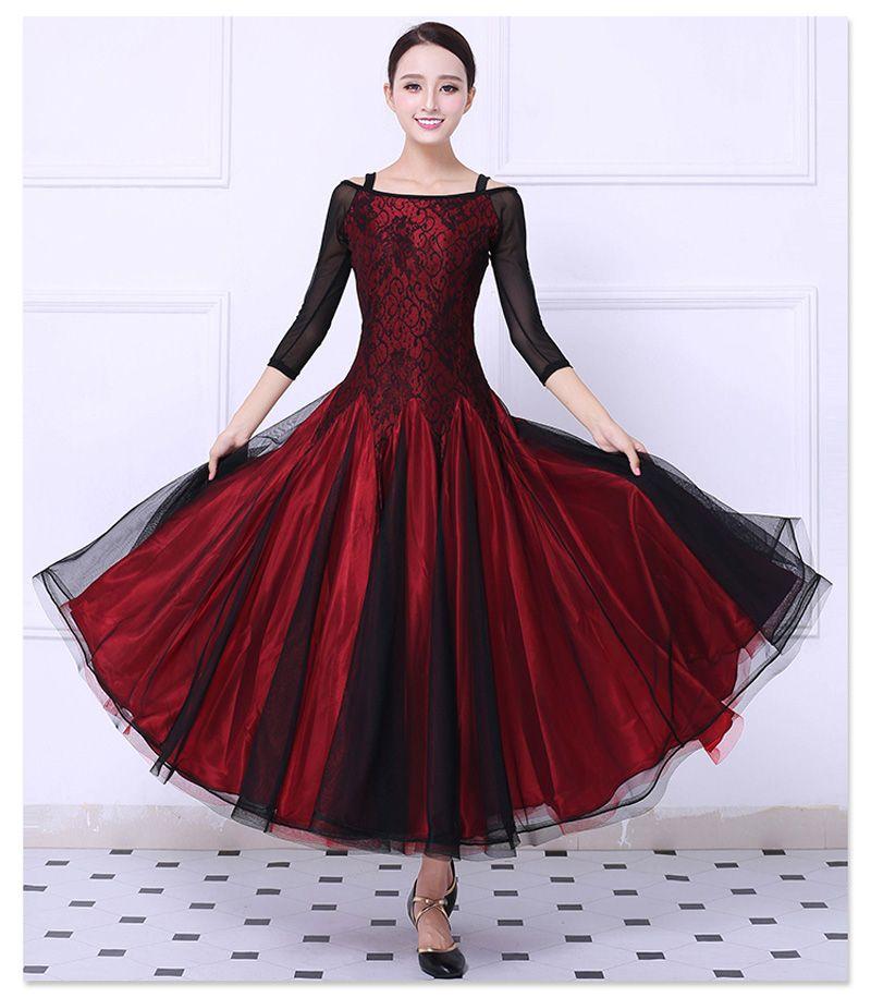 Ballsaal Wettbewerb Tanz Kleid Frauen Rot Tango Flamenco Walzer Tanzen Rock dame Hohe Qualität Ballroom Dance Kleider