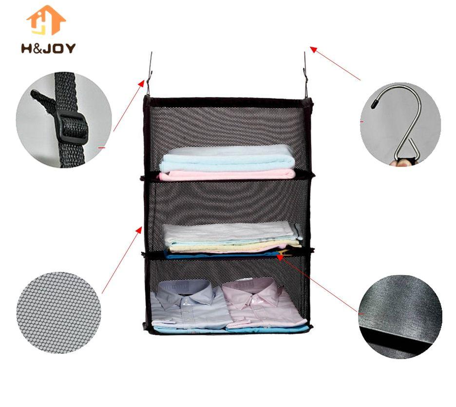 3 Layers Portable Travel Storage Bag Hook <font><b>Hanging</b></font> Nylon Mesh Bag Storage Organizer Wardrobe Clothes Shoes Storage Rack Holder