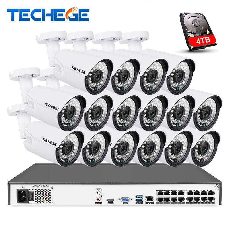 Techege 16CH 4K POE NVR 5MP 3MP kit PoE IP Camera P2P Cloud Onvif FTP CCTV System IR Outdoor Night Vision Video Surveillance Kit