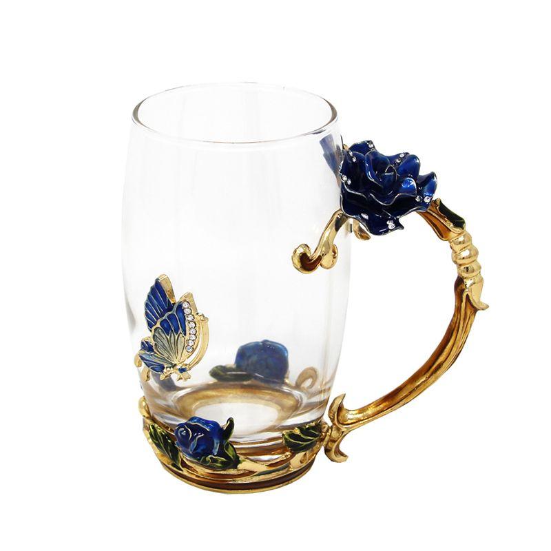 KEYTREND Creative Nouveauté Émail Café Tasse Tasse Fleur Thé Tasses En Verre pour Boissons Chaudes et Froides, Cadeaux parfaits Pour Son AECL089