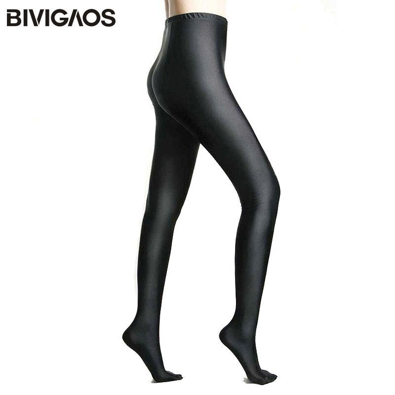 BIVIGAOS Femmes Brillant Noir Leggings Brillant Pantalon Formant le Pantalon Leggings Chinlon Haute Élastique Sexy Leggings Collants Pour Femmes